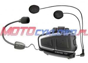 Intercom motocyklowy Cardo Scala Rider Q3 z systemem Bluetooth i Wireless do 1000 m, mocowany do kasku